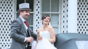 bride and groom relaxed and laughing during wedding photos in Aviemore Scottish Highlands