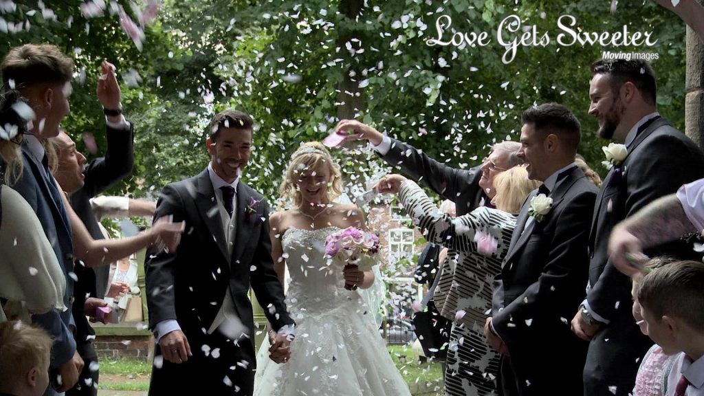 confetti filmed outside st marys church sandbach