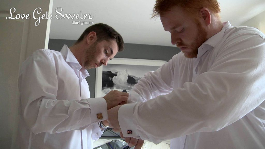 groom and best man getting ready for wedding in Cheshire