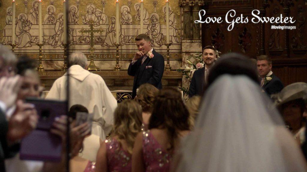 groom reaction to seeing bride first look west derby wedding video