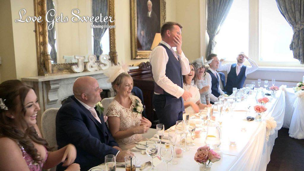grooms speech filmed during wedding at liverpool racquet club