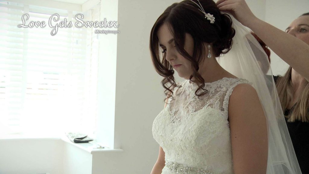 bride veil and lace dress liverpool wedding