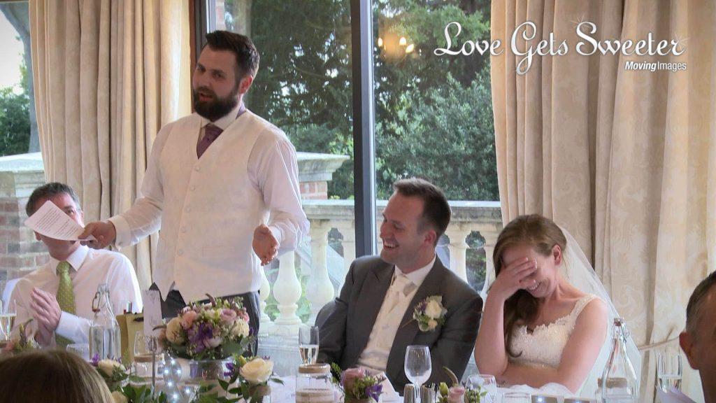 embarrassing best man speech at wedding in Willington hall