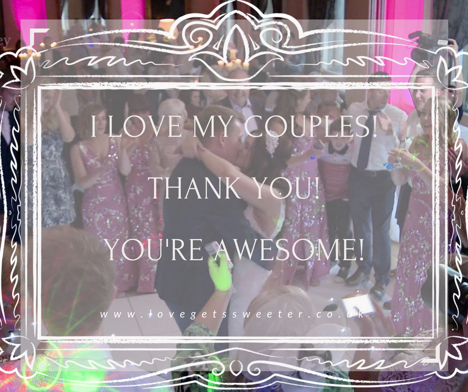 bride and groom first dance in Liverpool thank you from wedding videographer using canva